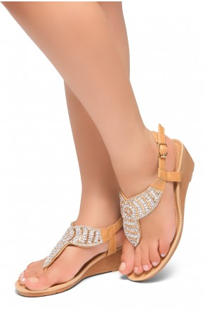 HerStyle Take Over- Rhinestone Details Vamp, Ankle Strap Open Toe Open Back Wedge Sandals (Camel)