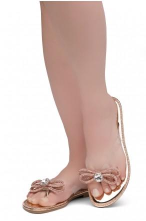 HerStyle Talluto-Rhinestone Details, Open Toe, Flat Sandals (1121Rosegold)