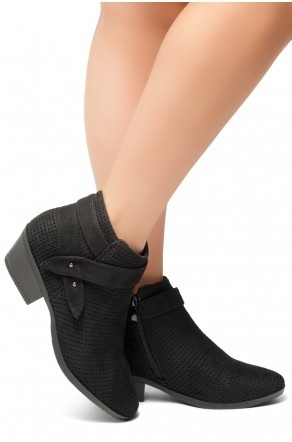 HerStyle Tamela- Low Stacked Heel Almond Toe Casual Ankle Booties (Black)