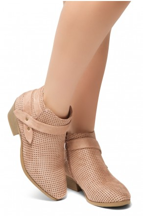 HerStyle Tamela- Low Stacked Heel Almond Toe Casual Ankle Booties (Mauve)