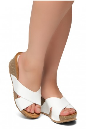 HerStyle Timmy -Crisscross Wide Straps Vamp Open Toe Slide Wedge Sandals (White PT)