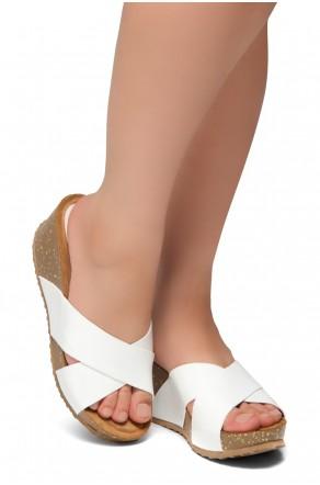 HerStyle Timmy -Crisscross Wide Straps Vamp Open Toe Slide Wedge Sandals (White PT)
