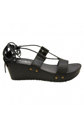 Women's Black Manmade Torrioo Lace-up Wedge Sandal with Studded Straps