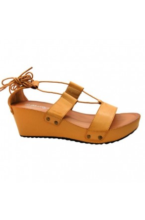 Women's Nude Manmade Torrioo Lace-up Wedge Sandal with Studded Straps