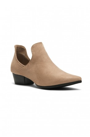Women's Ulyana Suede Side Cutout Pointy Toe Cowgirl Booties - Khaki