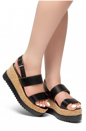 HerStyle Upgrade U- Open Toe Ankle Strap Platform Wedge (Black)