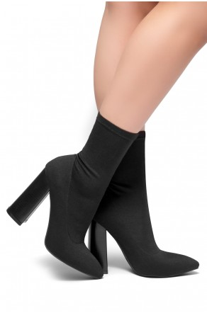 HerStyle Valli-Pointed toe, Wooden block heel, knit Lycra upper(Black)