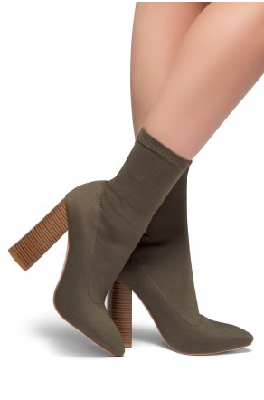 HerStyle Valli-Pointed toe, Wooden block heel, knit Lycra upper(Olive)