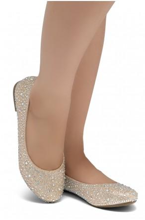 HerStyle Vicky-Round toe, jeweled embellishments (2012 Rosegold)