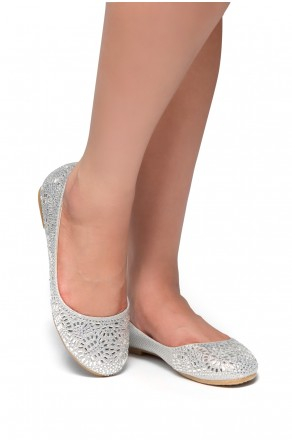 HerStyle Vicky-Round toe, jeweled embellishments (Silver)