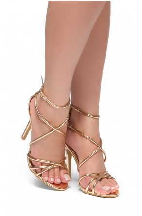 HerStyle Villarosa-Stiletto heel, gladiator construction, ankle strap (Rose Gold)