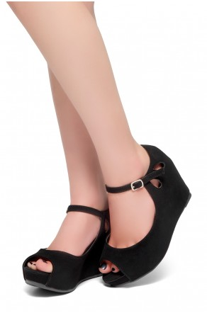 HerStyle Vision Of You-Peep Toe Ankle Strap Back Closure Wedge (Black)