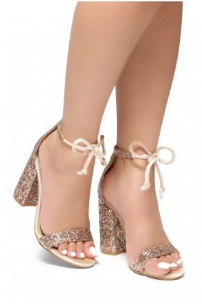HerStyle Walk My Way-Glitter, chunky heel, ankle tie (Gold Glitter)