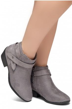 Shoe Land Zarella- Low Stacked Heel Almond Toe Casual Ankle Booties (Grey)