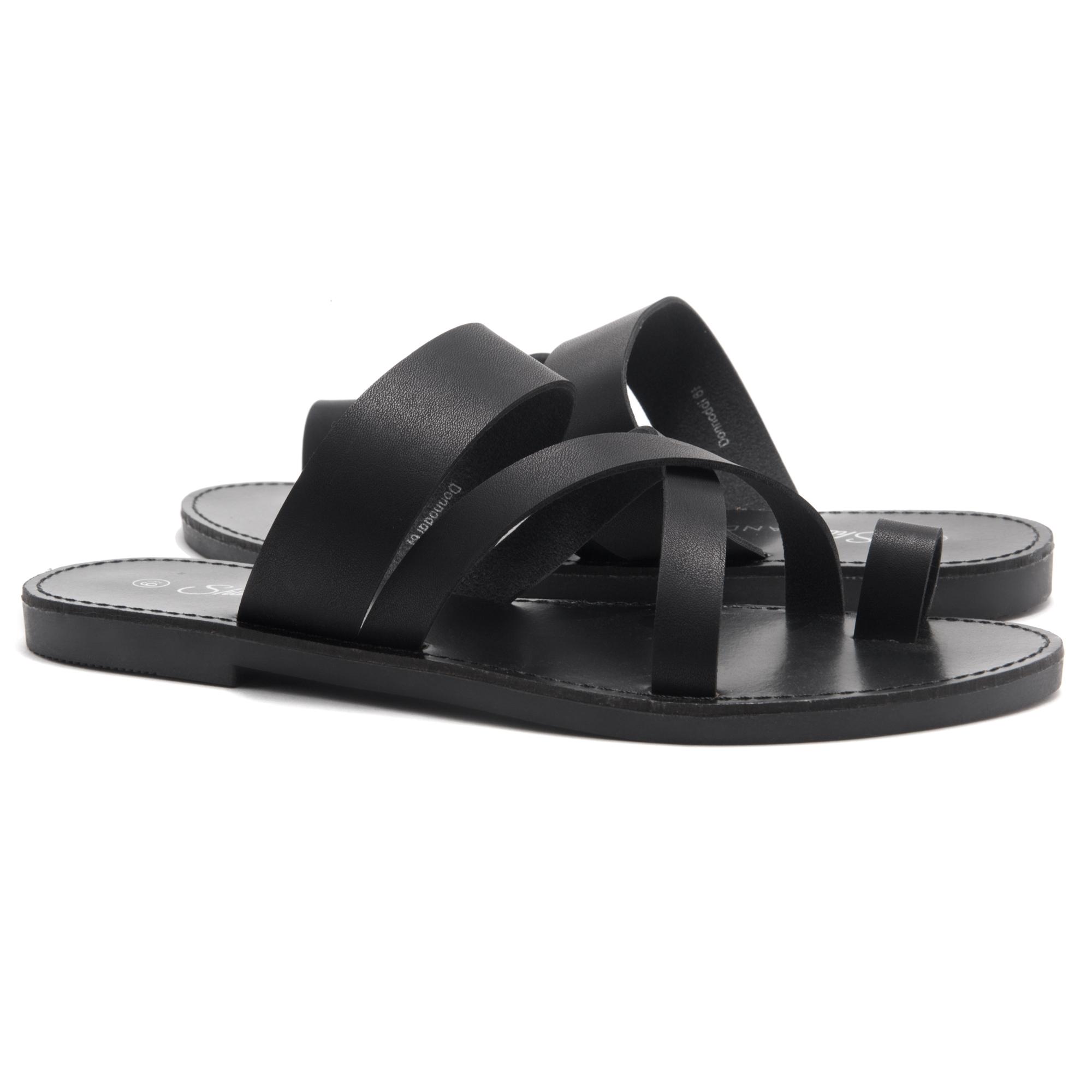 1ae5b4ebbe46 Women s Donnoddi Toe Ring Sandal with Unique Crisscross Straps (Black)