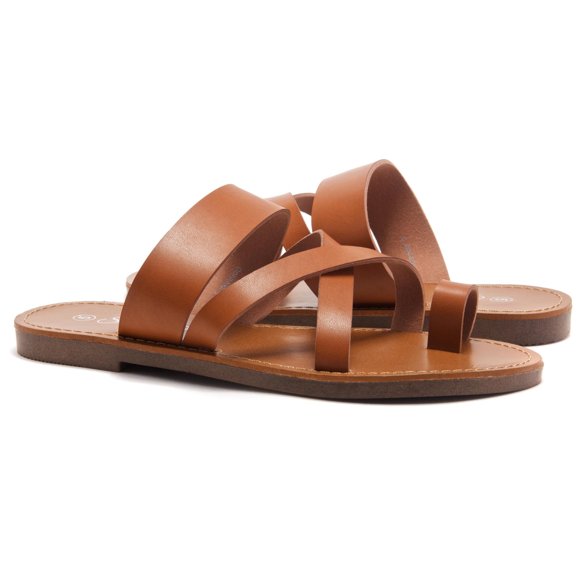 efdf6e8854 Women's Donnoddi Toe Ring Sandal with Unique Crisscross Straps (Cognac)