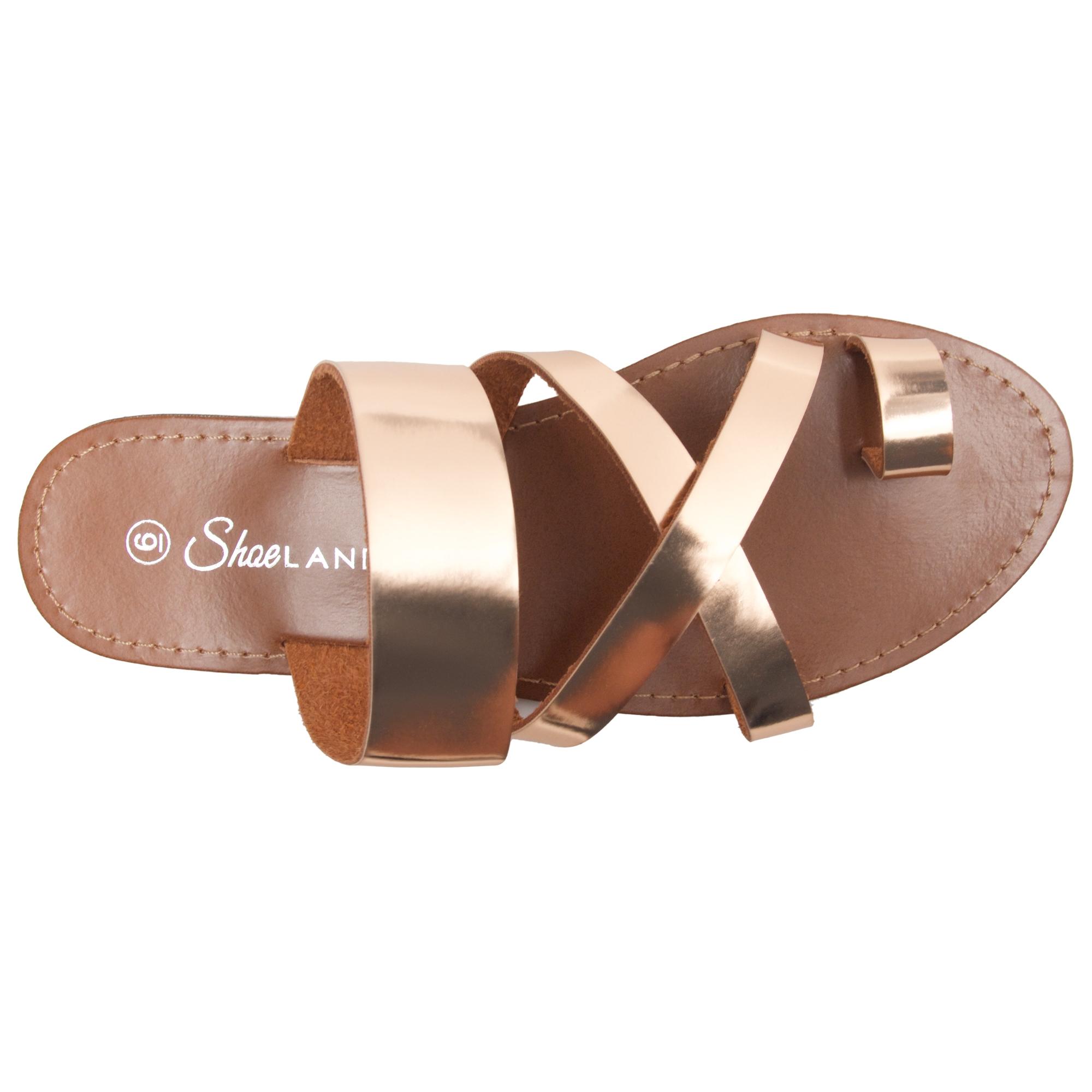 2d94ab5651 Women's Donnoddi Toe Ring Sandal with Unique Crisscross Straps (RoseGold)
