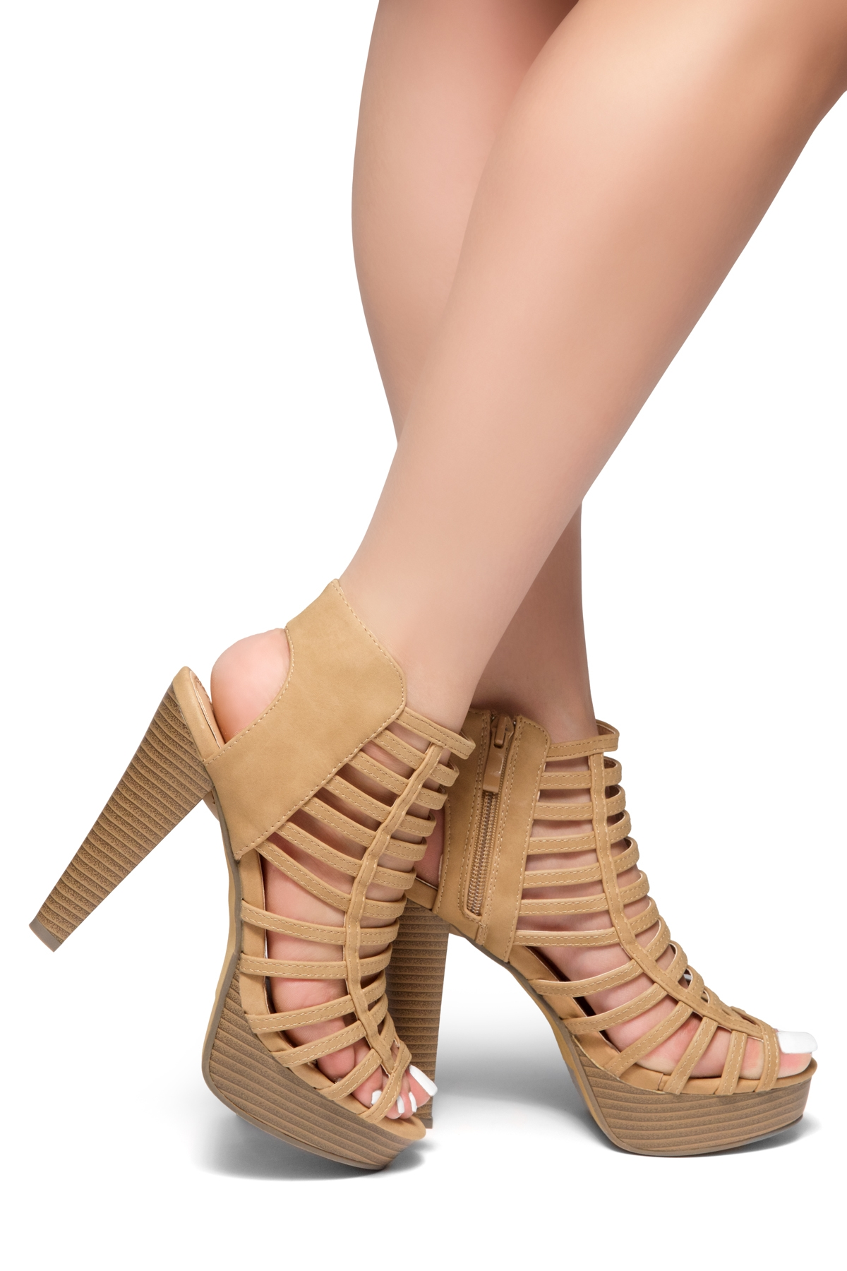 7c411c2b70c HerStyle Elevate Me-Peep Toe Chunky Platform Heel (Nude)