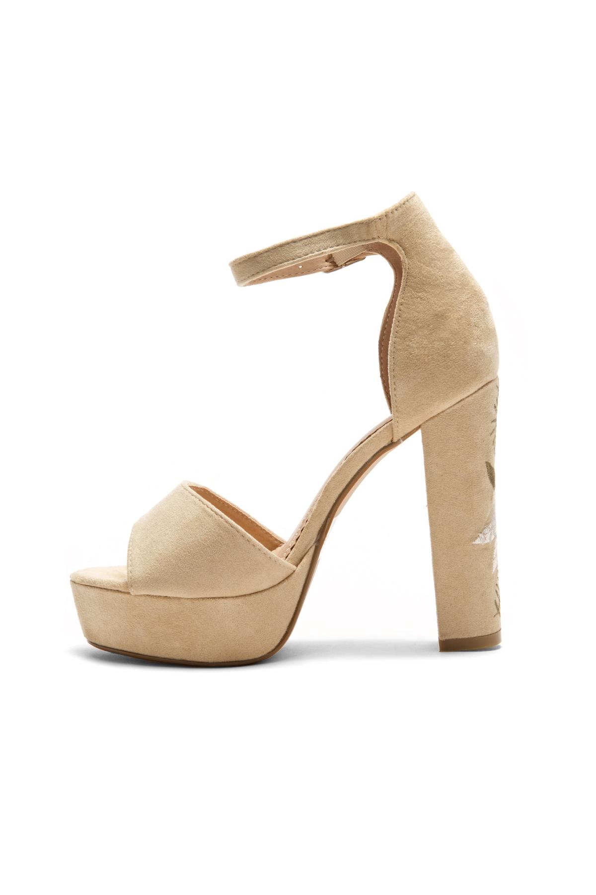 HerStyle Ellisse Faux Suede Floral Embroidered Platform Heel (Camel) ...