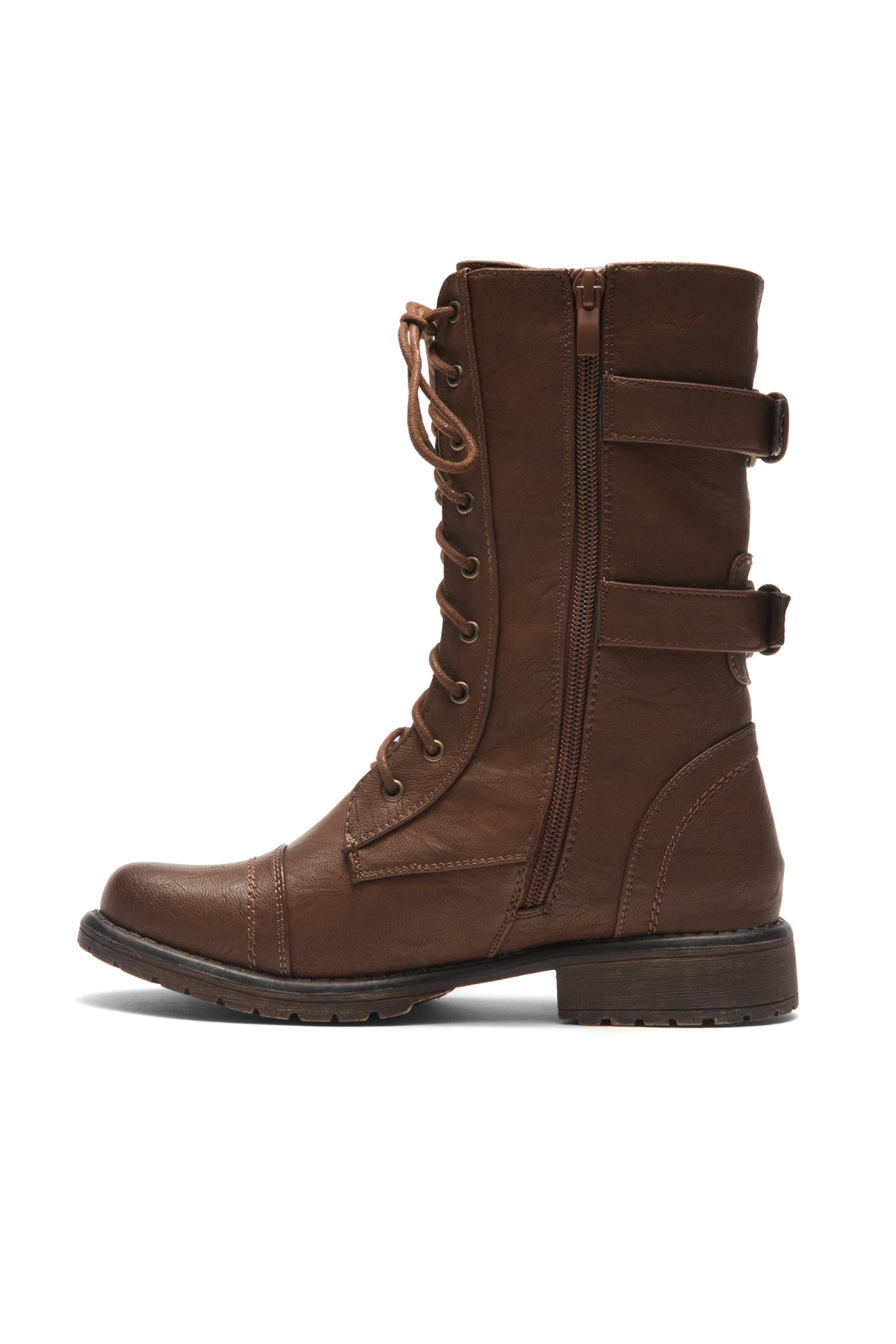 Women's Brown Florence 2Military Lace up, Double Buckled, Middle ...