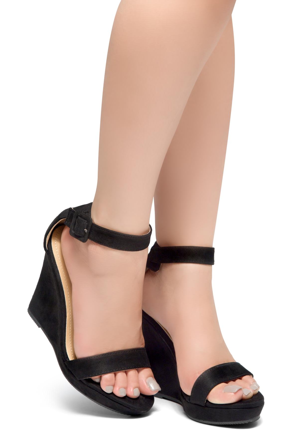aad0eb8d7fa HerStyle Forever Together-Ankle Strap Open Toe Platform Wedge (Black)