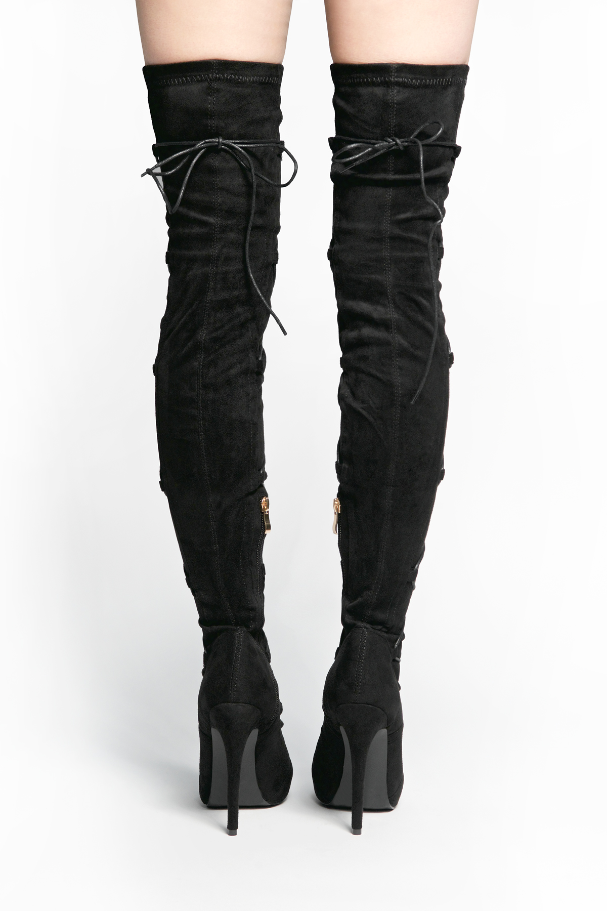 09d6f59b4d4 HerStyle Freyya a peep toe, stiletto heel, thigh high Sock Boots, front  lace-up (Black)