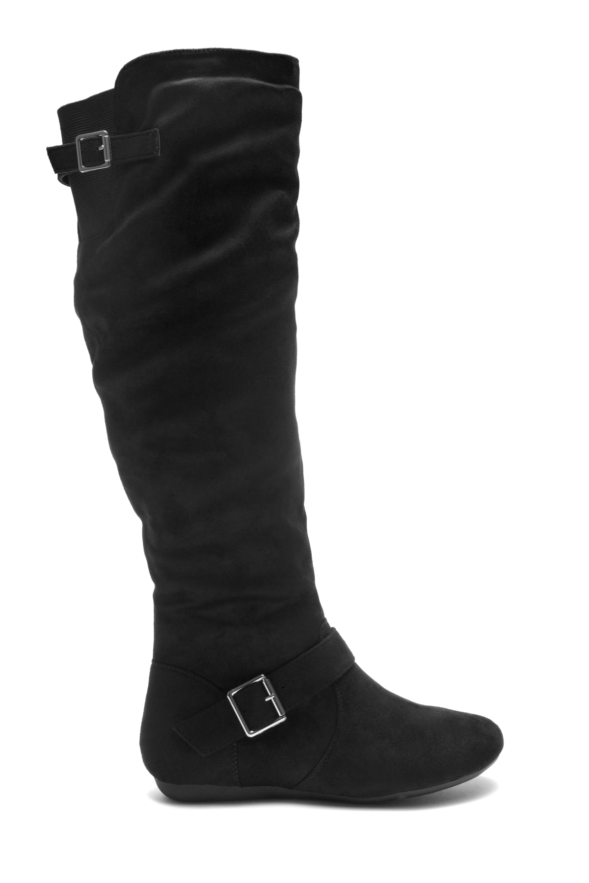 36caa1ebe6ea HerStyle Ieshia Thigh High Suede round toe flat boots (Black)