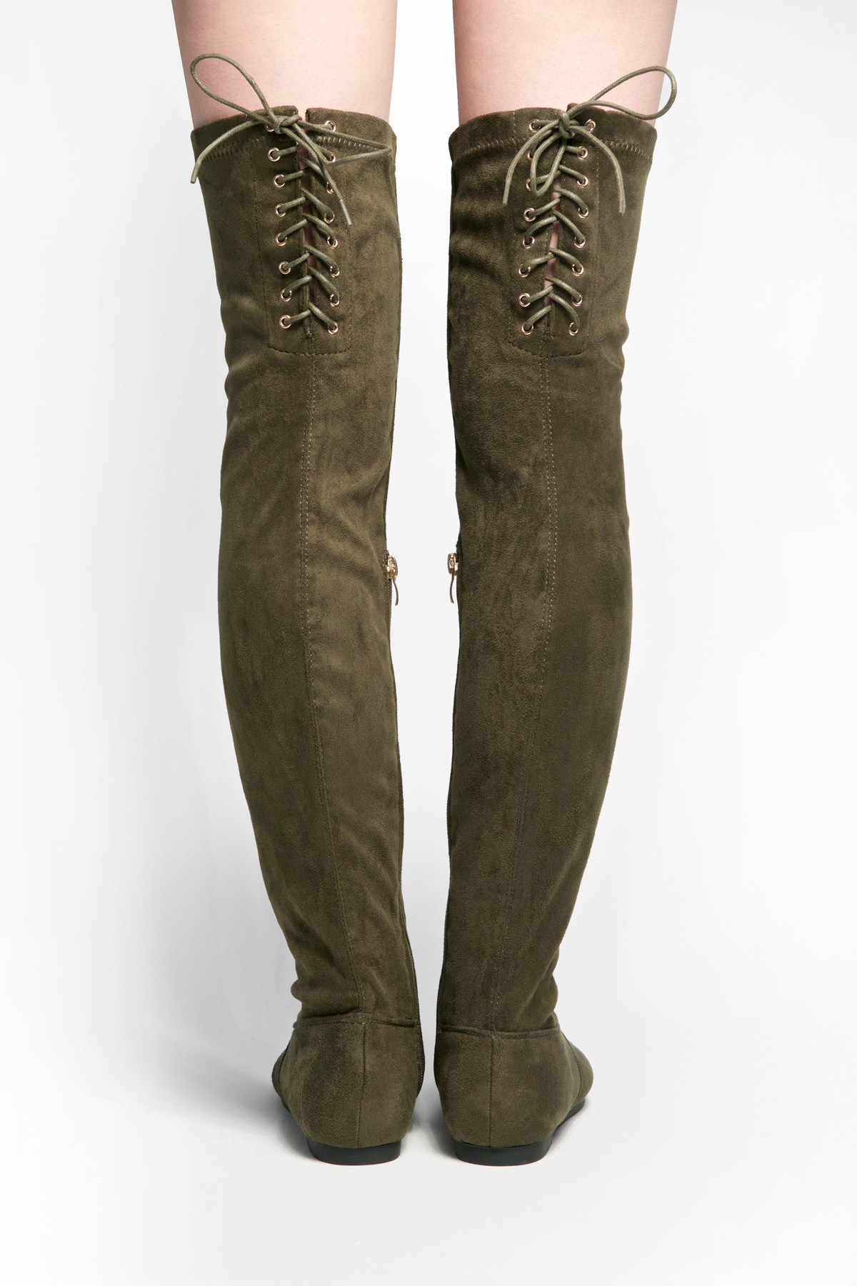 HerStyle Julius Women's Fashion Drawstring thigh high Flat Boots ...