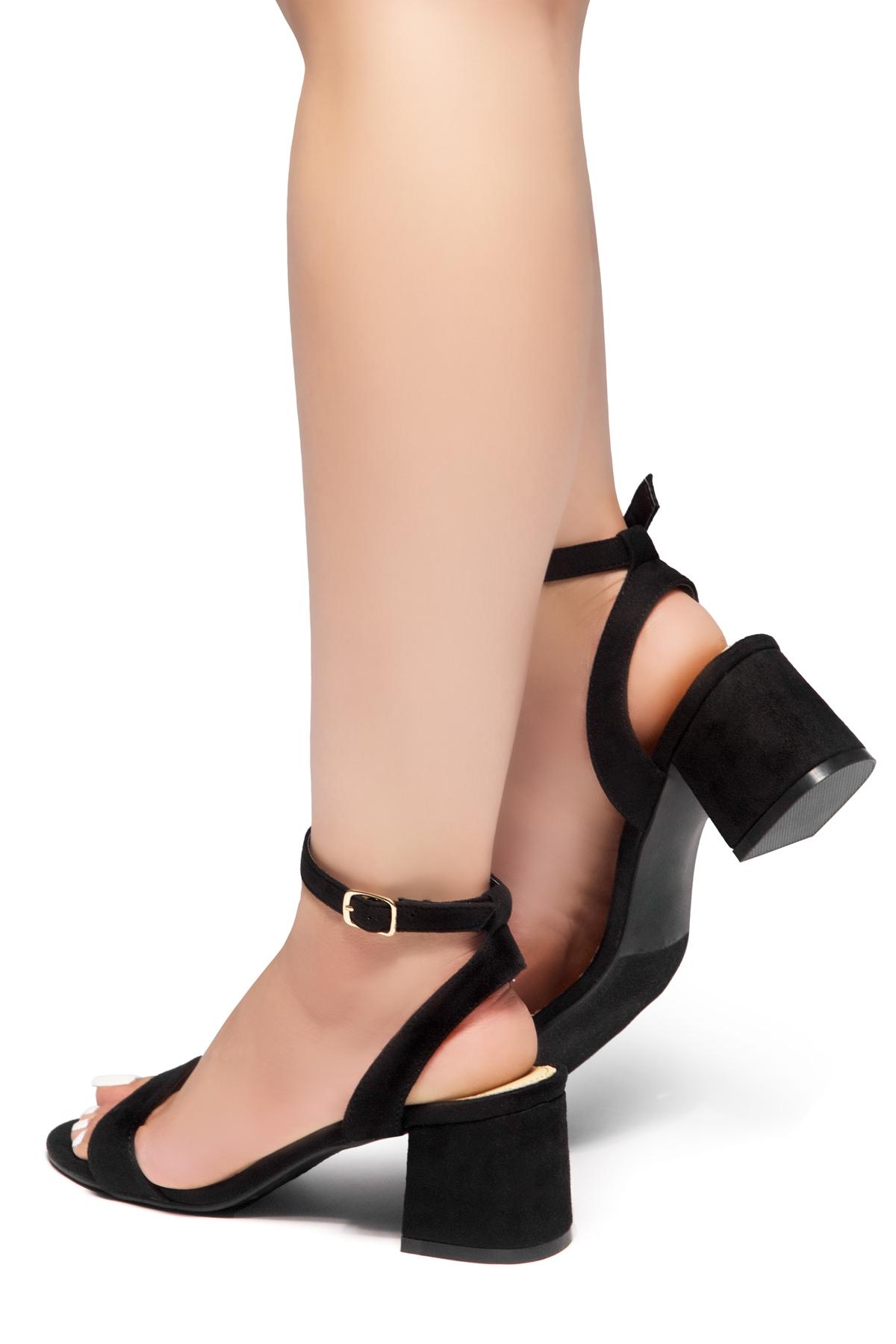 27344635342 HerStyle KEEPTALKING-Suede Open Toe Ankle Strap Low Chunky Heel Sandal  (Black)
