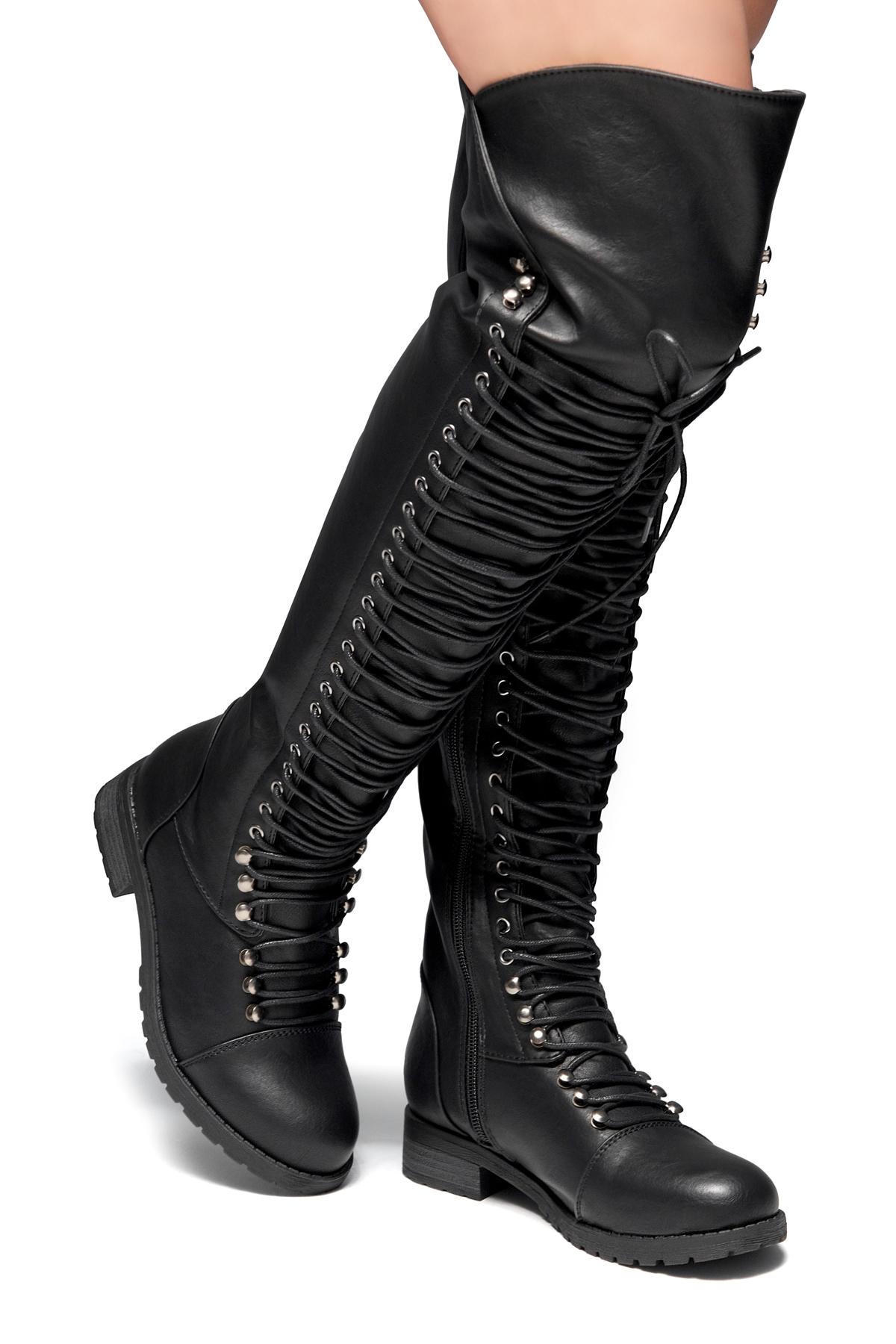 c9e65af90ba HerStyle Kristrrina-Combat Lace up Over-The-Knee Boots(Black)