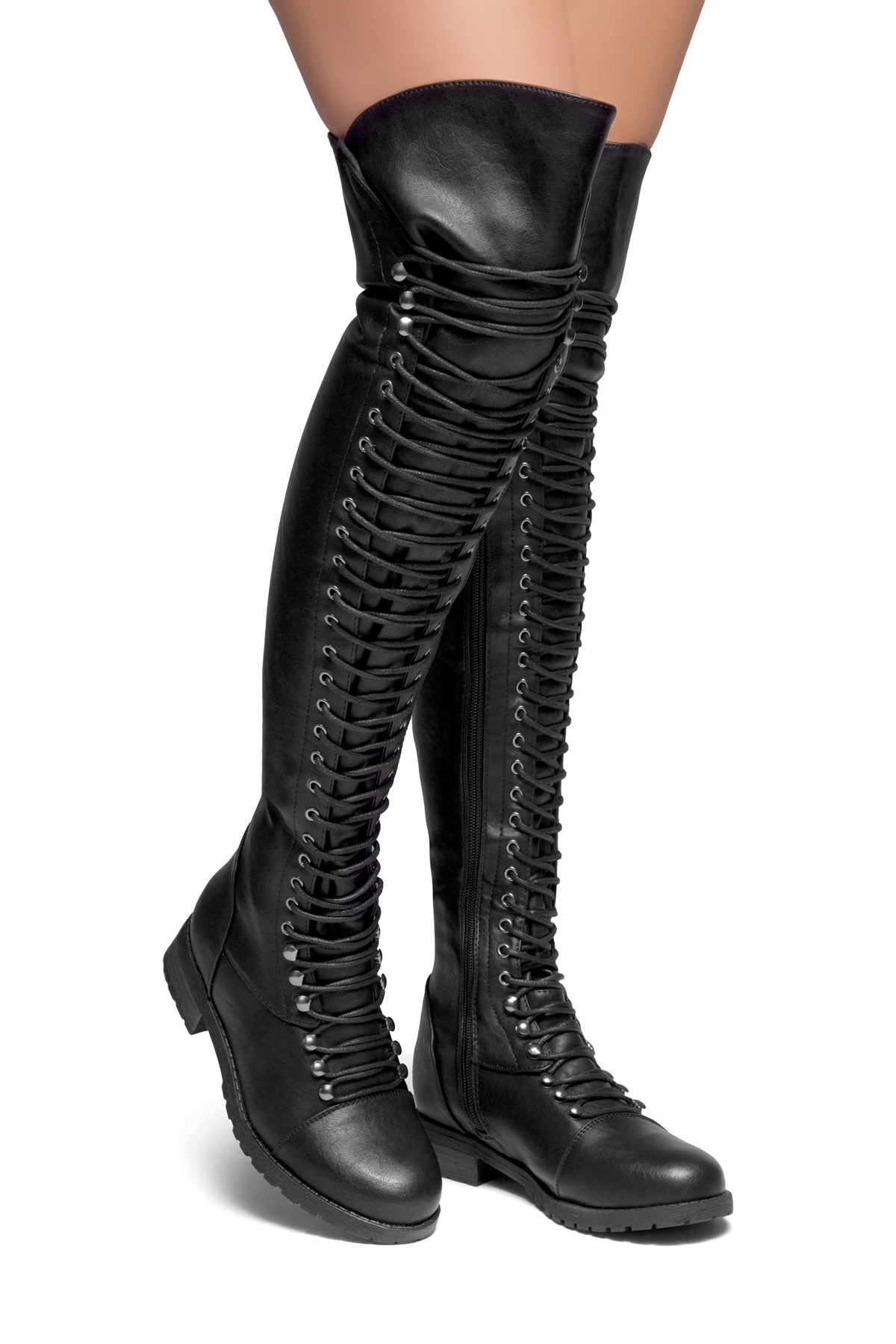 ebff149a2d5 HerStyle Kristrrina-Combat Lace up Over-The-Knee Boots(Black)