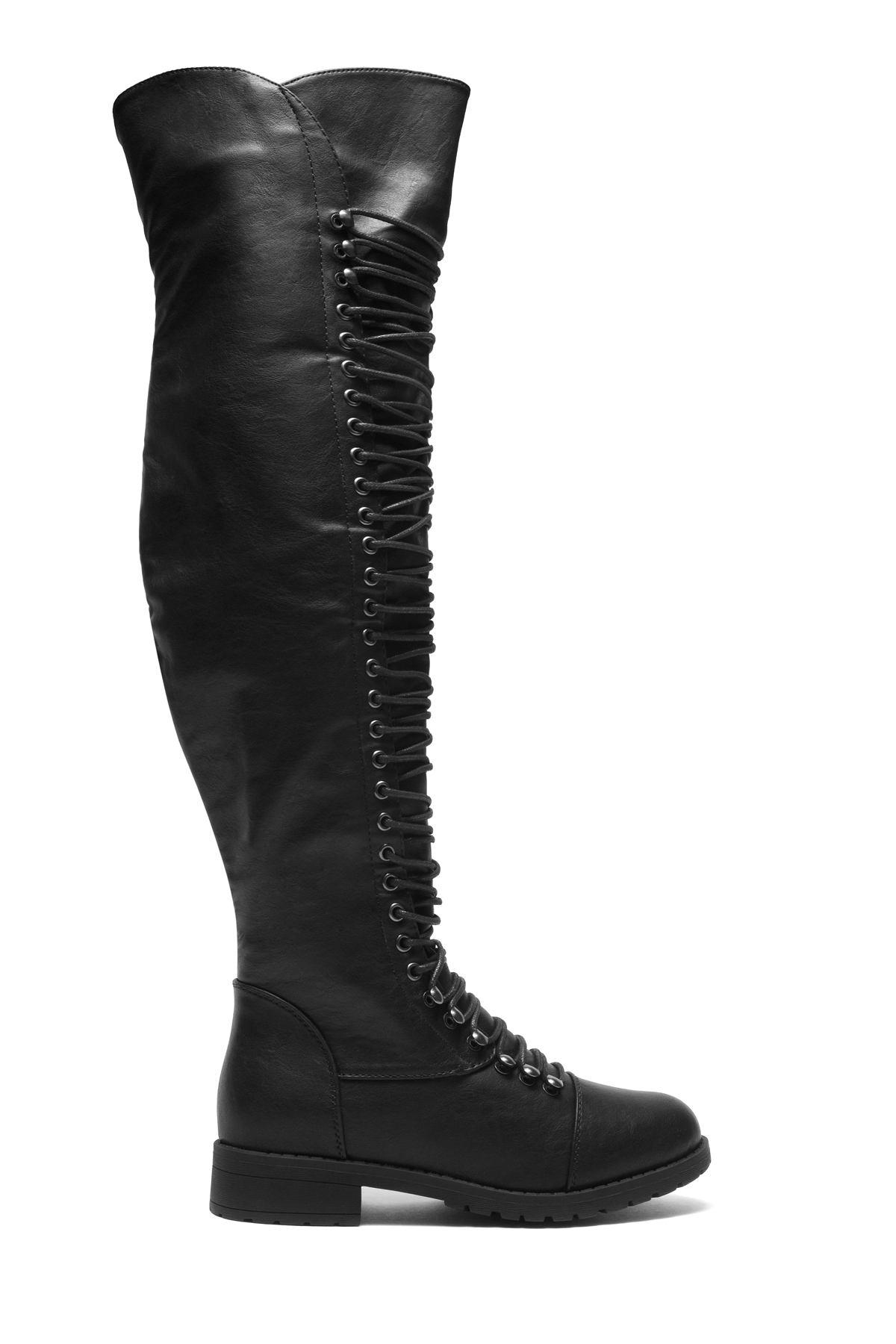 Black Kristrrina Military Lace Up Thigh High Combat Boots