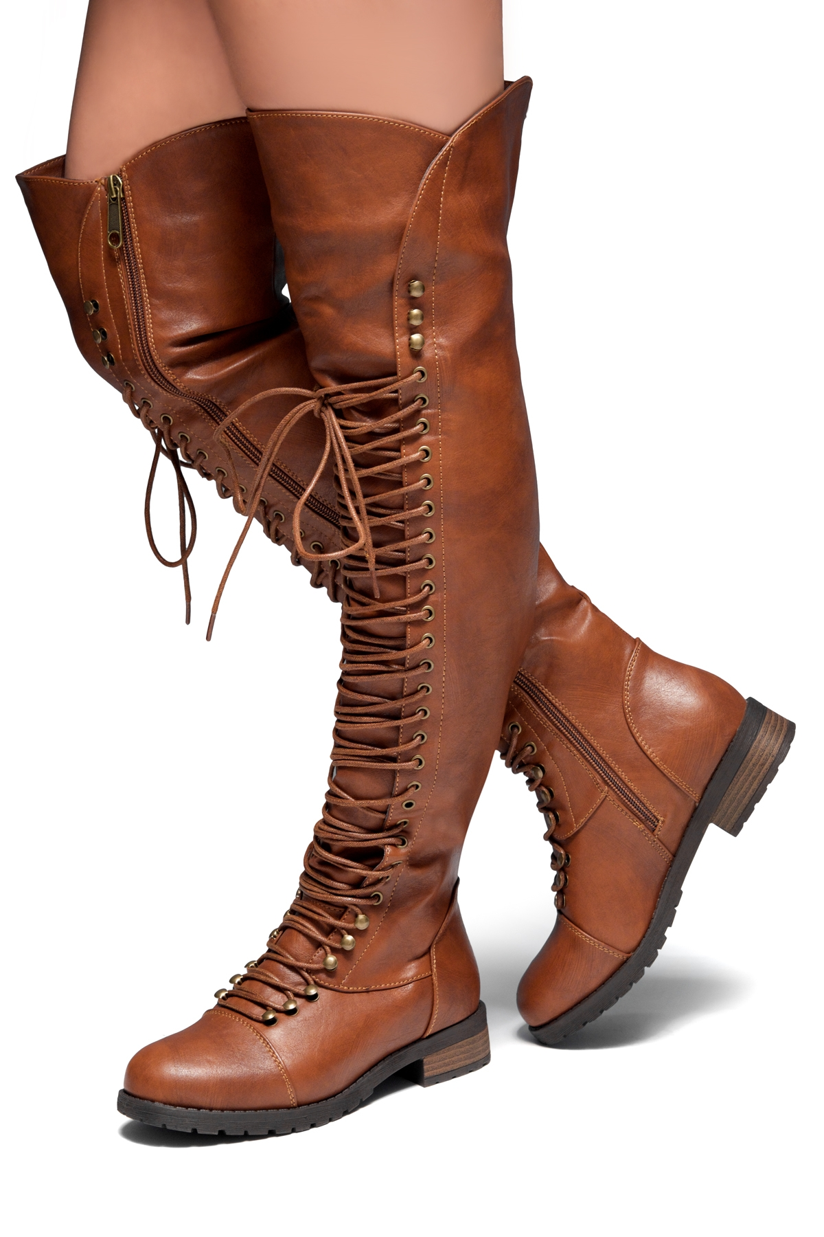 22040c10f62 HerStyle Kristrrina-Combat Lace up Over-The-Knee Boots(Brown)