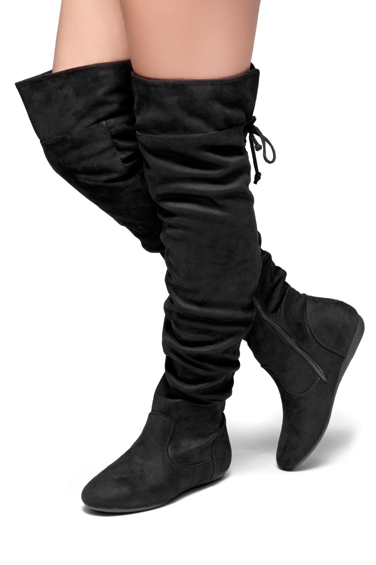 a32bf1709569 HerStyle Lauurren Faux Suede Thigh High Boots - black ...