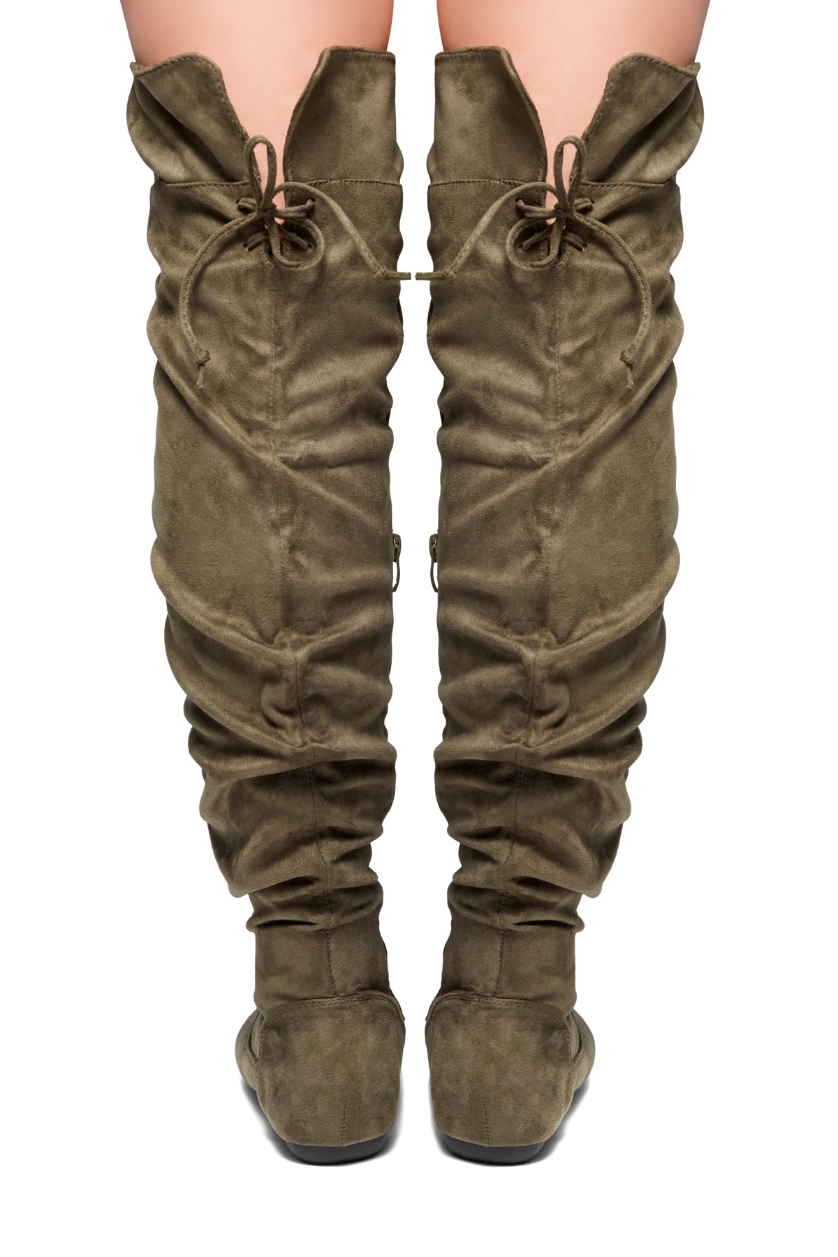 4b9711605bd3 ... HerStyle Lauurren Faux Suede Thigh High Boots - olive ...
