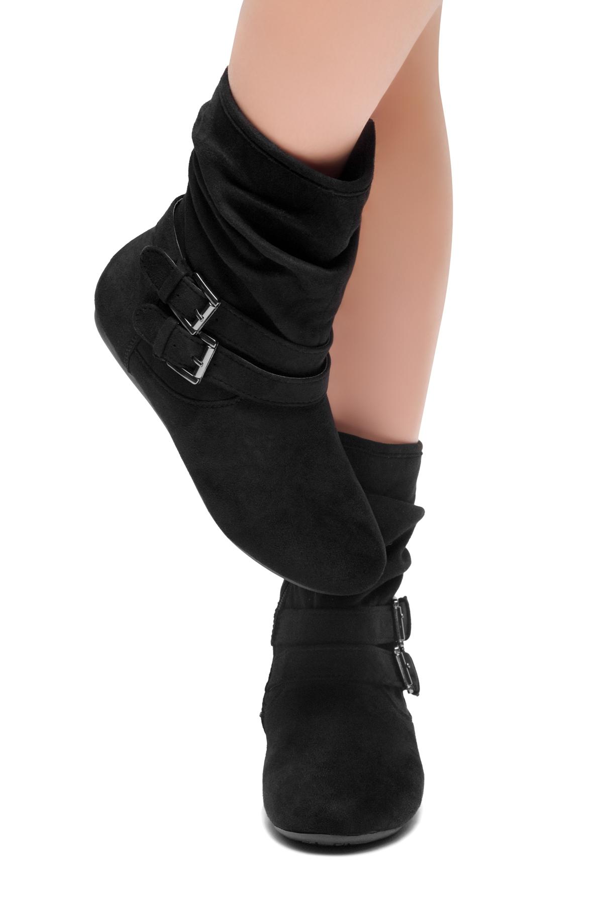 04ffee2571b60d Women s Black Lindell Women s Fashion Calf Flat Heel Side Zipper ...