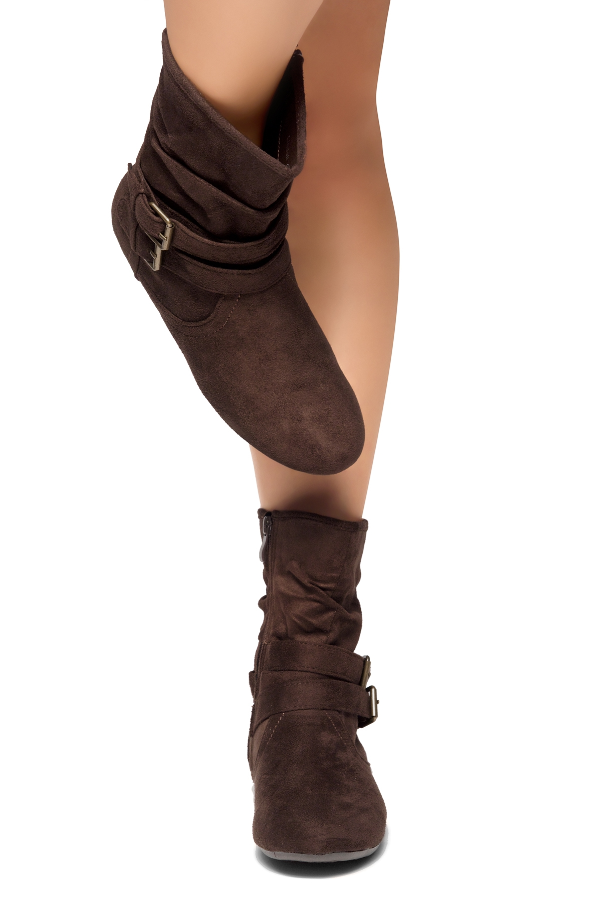 898c19f9614cc0 Women s Brown Lindell Women s Fashion Calf Flat Heel Side Zipper ...