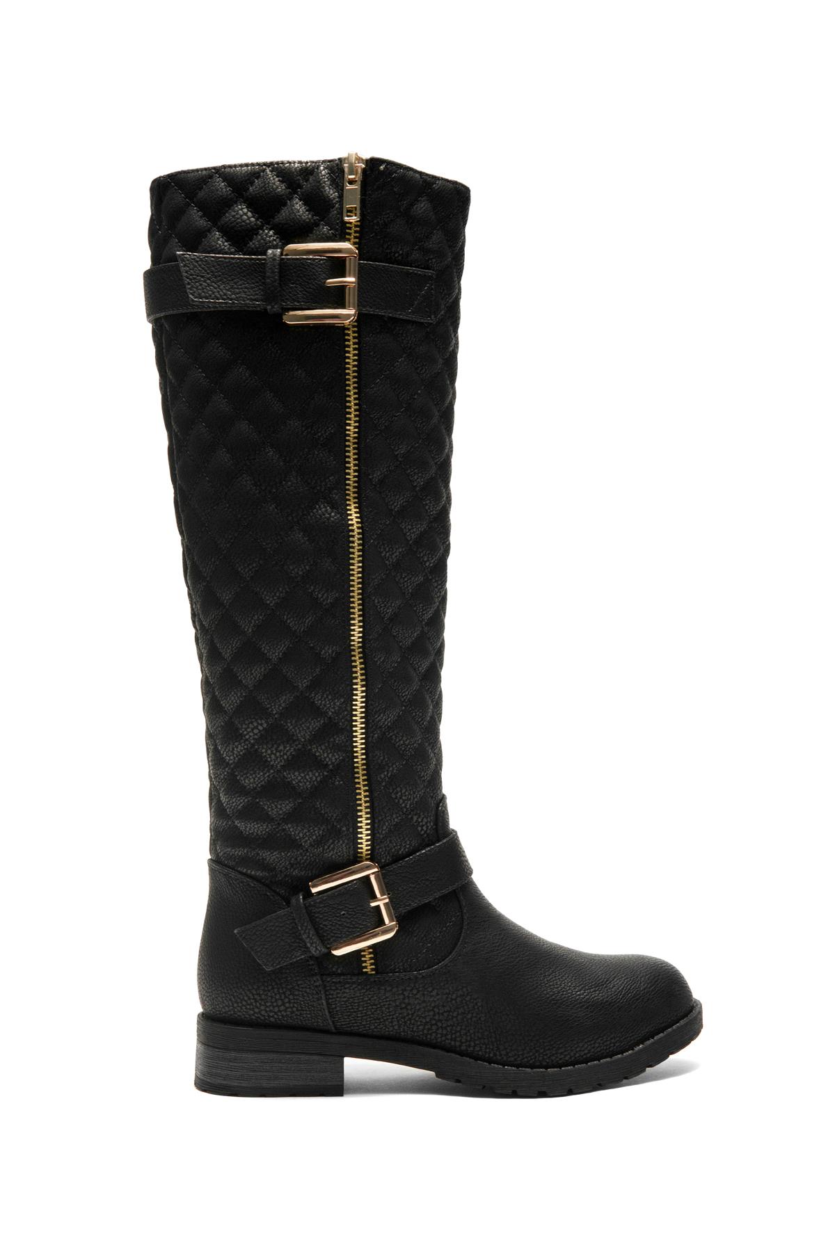 4fdc0ecf2e5c Women's Black Lorreenn-Hi Women's Quilted, Zipper, Double Buckles Accent,  Lug sole,Riding Knee-hi Boots
