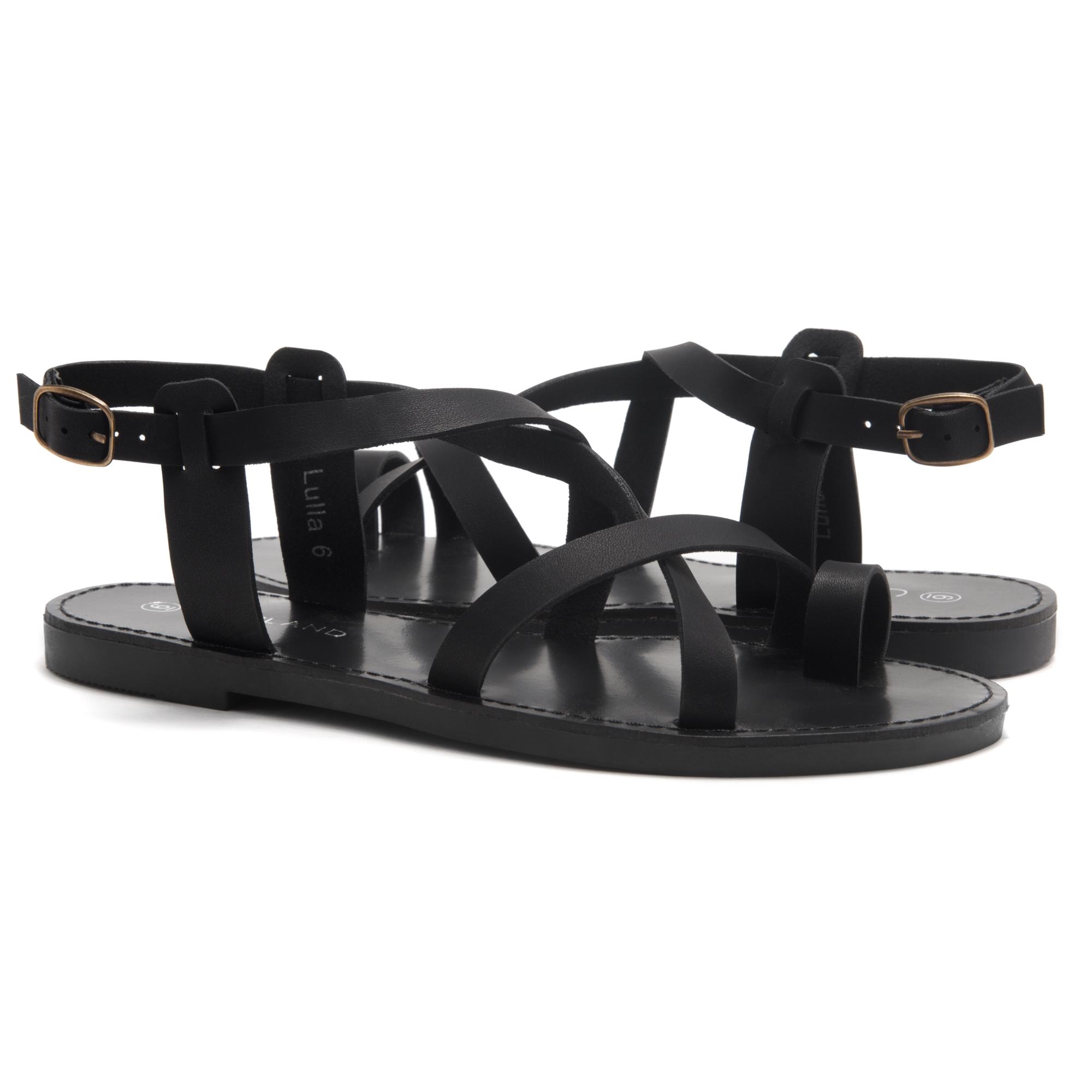 eb64c42ea84ba HerStyle Lulla-Toe Ring Sandal with Unique Crisscross Straps (Black)