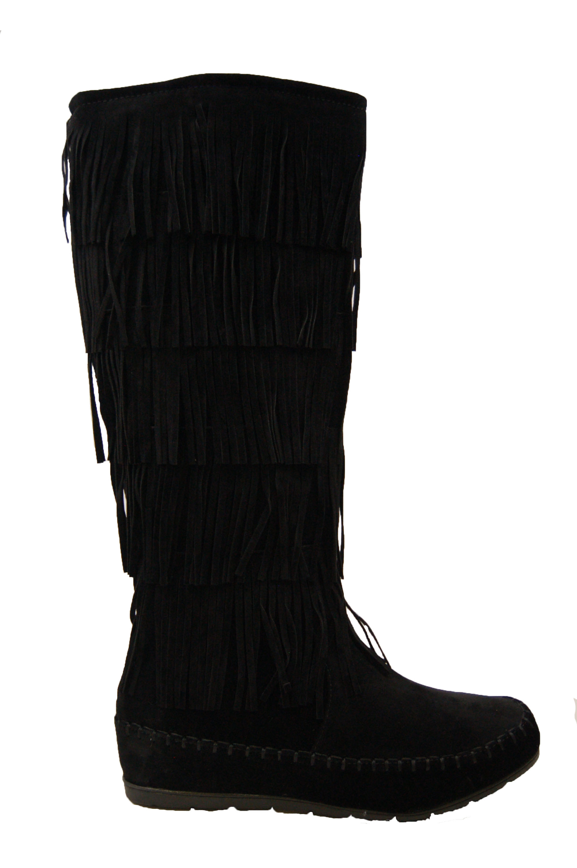 0674bcf57021 Women's Black Maddyyee Faux Suede Knee High Fringed five-layer ...