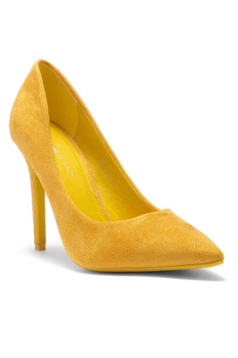 fa7ce8fb0b HerStyle Marneena-Women's Manmade 4-inch Sueded Heel with Lightly Pointed  Toe (Mustard)