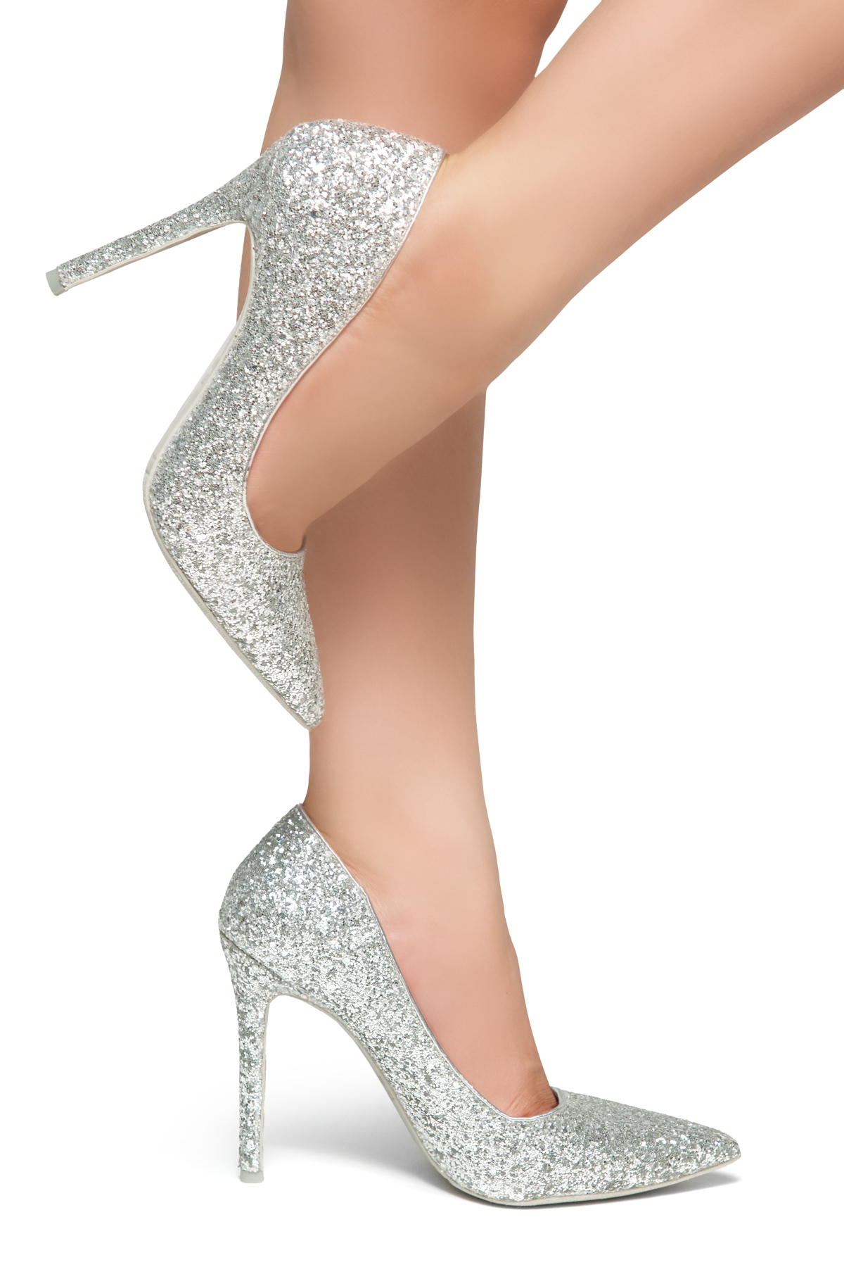 c752863c8f HerStyle Marneena-Women's Manmade 4-inch Sueded Heel with Lightly Pointed  Toe (Silver Glitter)