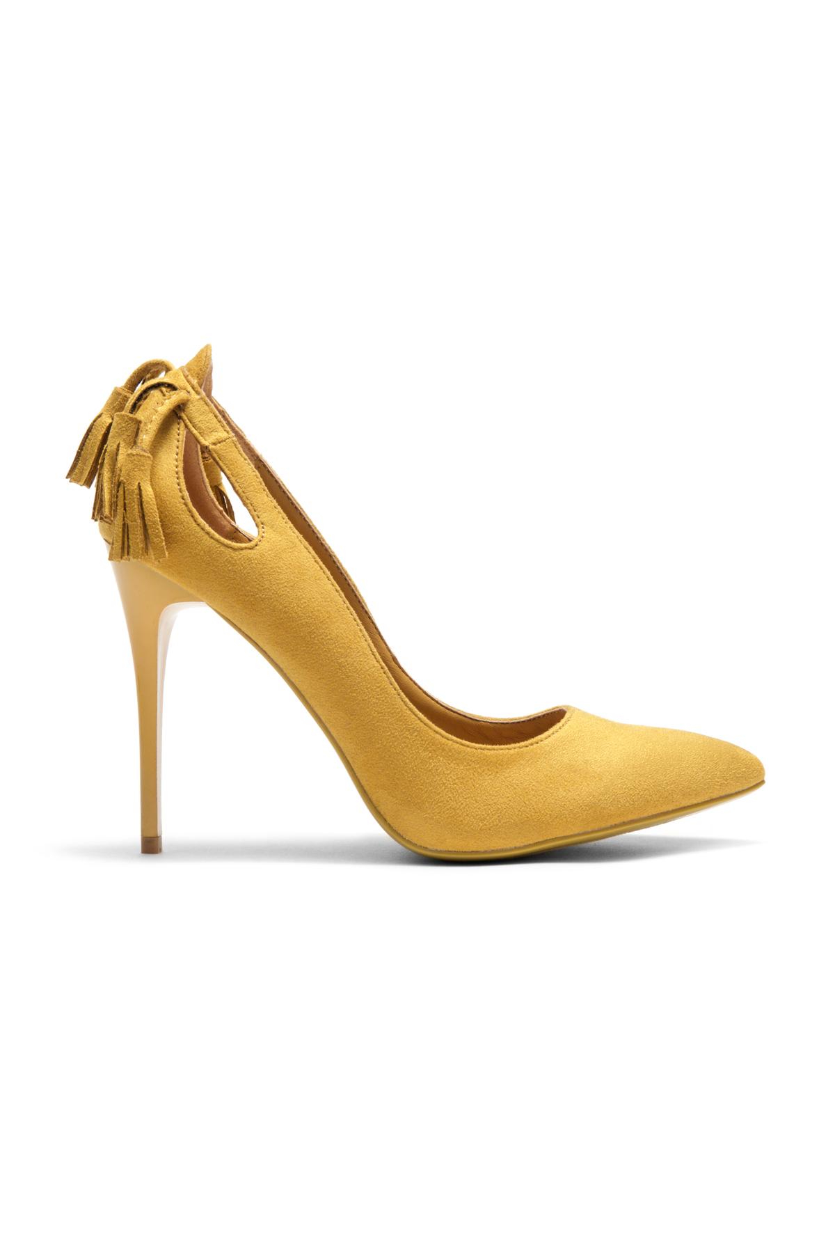 34f0e2befeff7 Women s Mustard Mazama 4-inch Pump Heel with Tassled Back