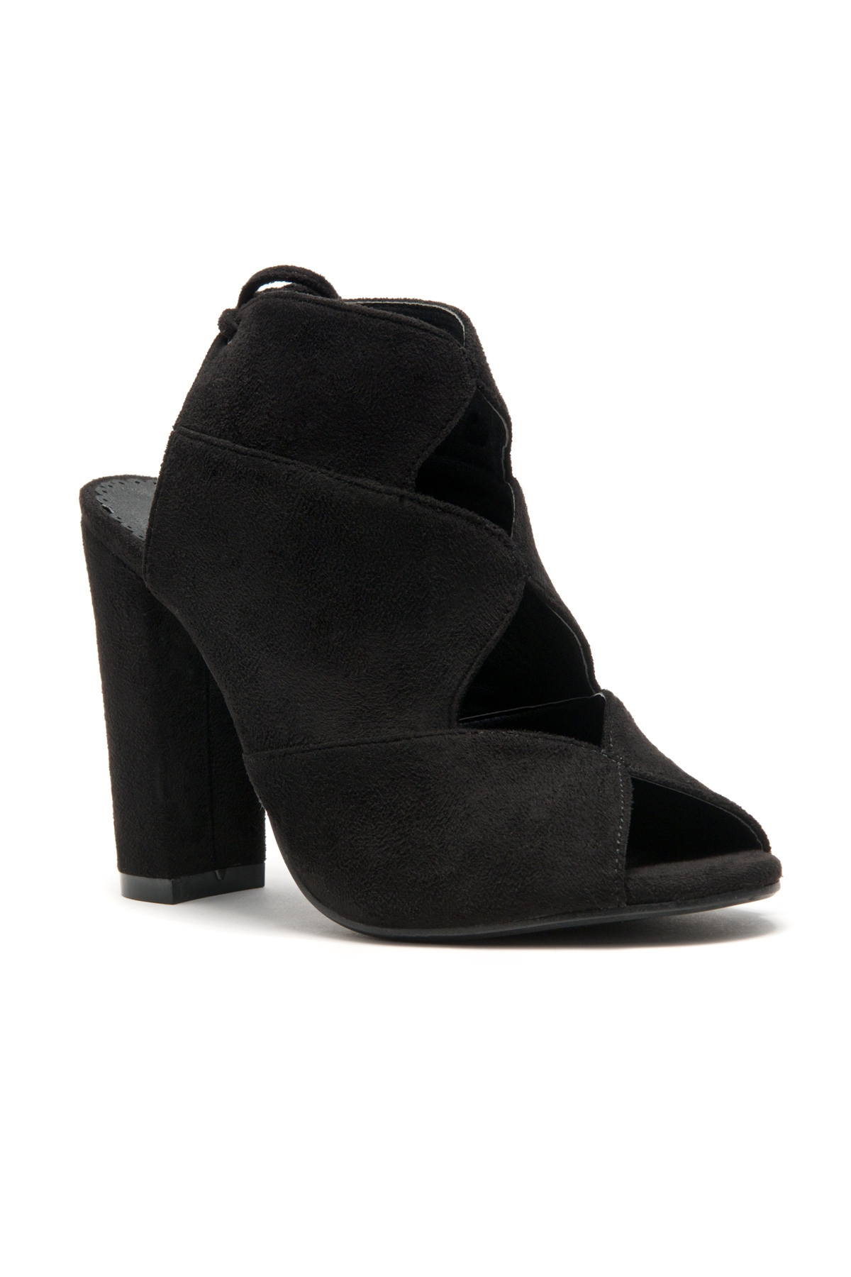 4862eeeaa9bc9 HerStyle Mocha Laser Cut, Chunky Heeled Sandals (Black)