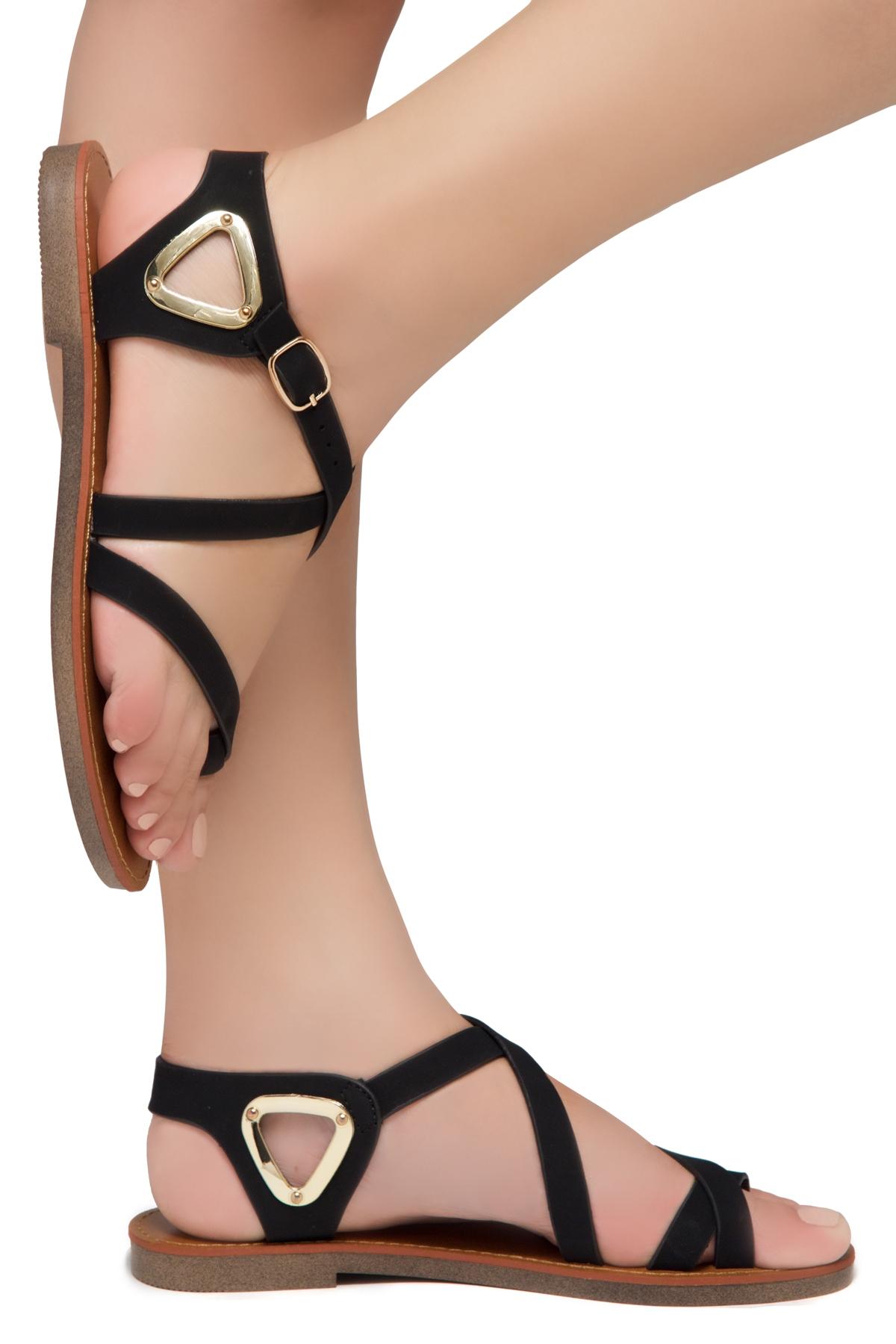 Gladiator Women's Shoe Needed Flat Toe Land Open Sandalsblack y8Nnm0wvO