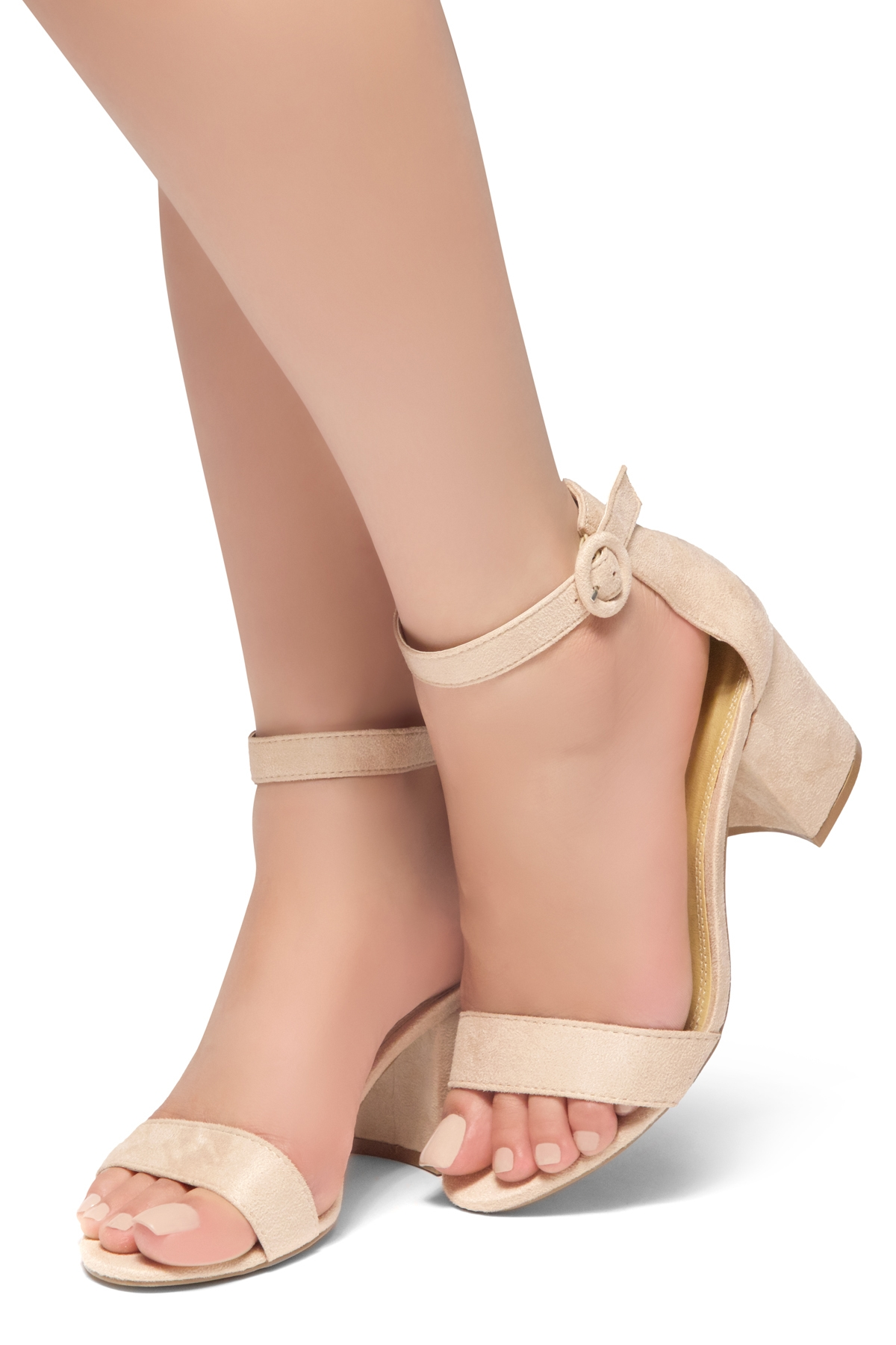 9d03b68816c HerStyle OUT SHINING- Ankle Strap, Buckled, Open Toe, Block Heel (Nude)