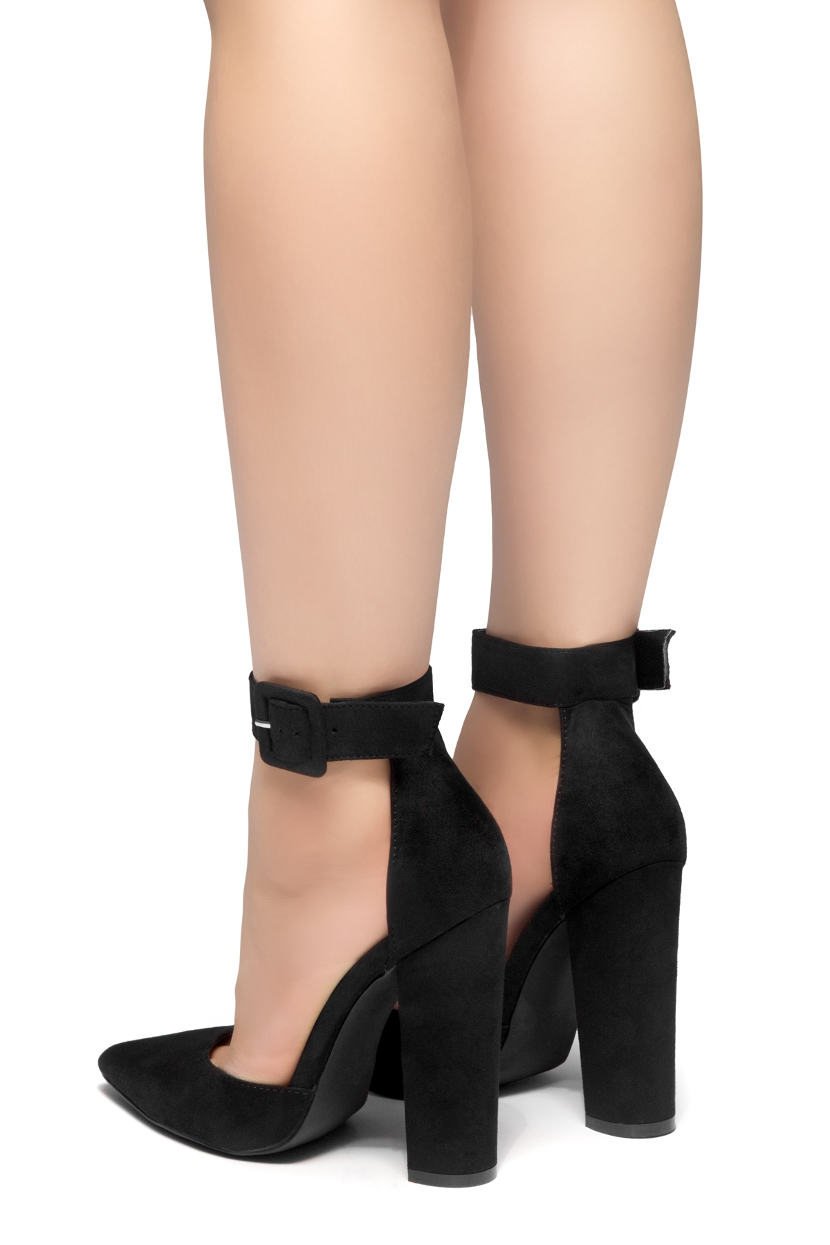 949e1211977 HerStyle PEAK HOUR-Close Pointed Toe Chunky Heel Ankle Strap Sandals (Black)