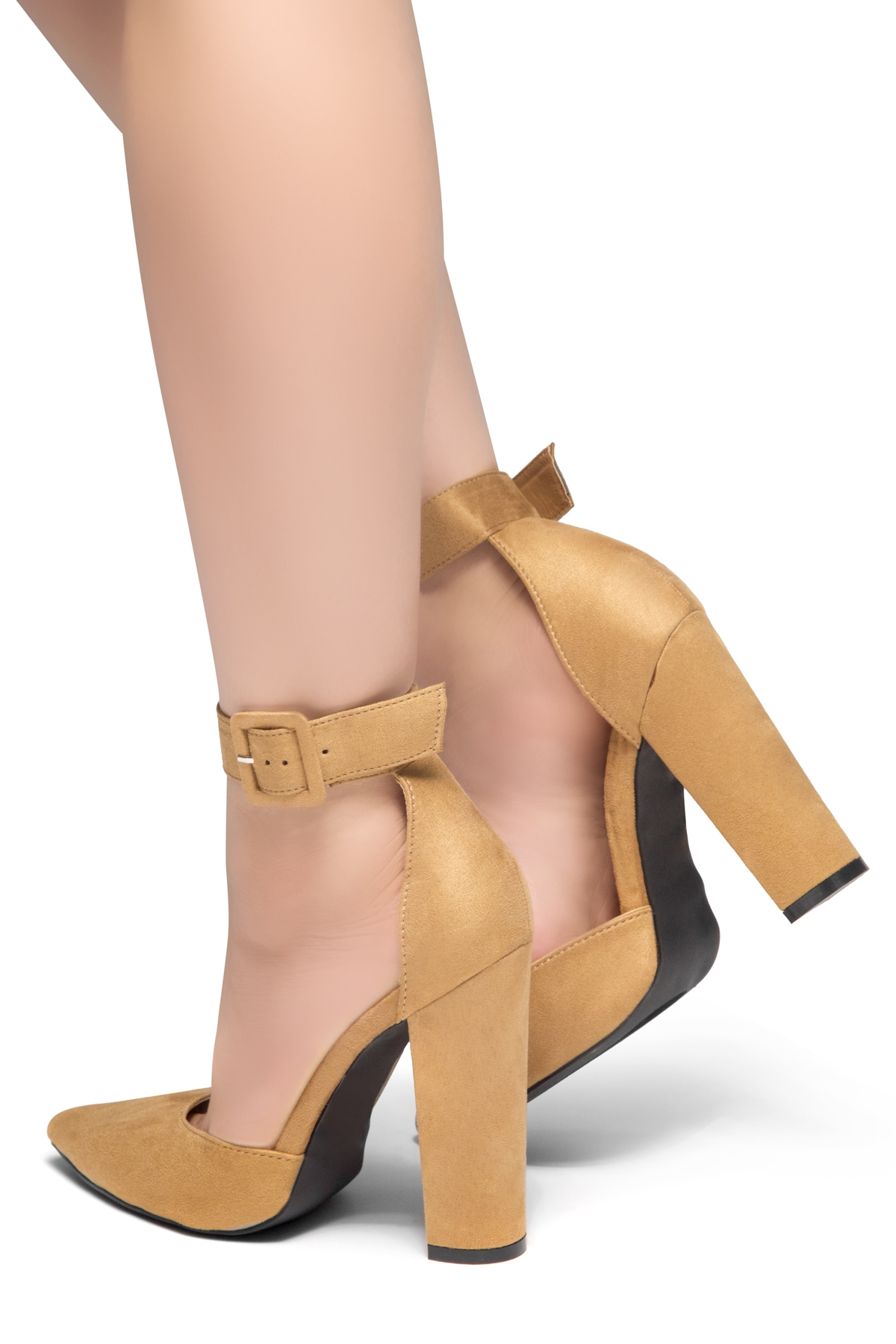 5bdd0934a76 HerStyle PEAK HOUR-Close Pointed Toe Chunky Heel Ankle Strap Sandals (Tan)