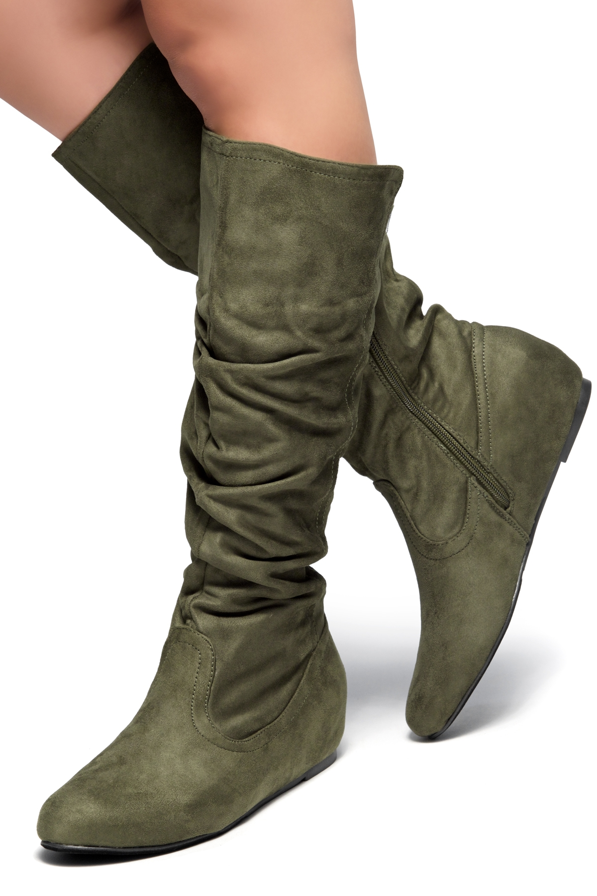ce7e927ef754 HerStyle Women s Wide Calf Faux Suede Slouchy Hidden Wedge Boot ROSEMARRY  (Olive)