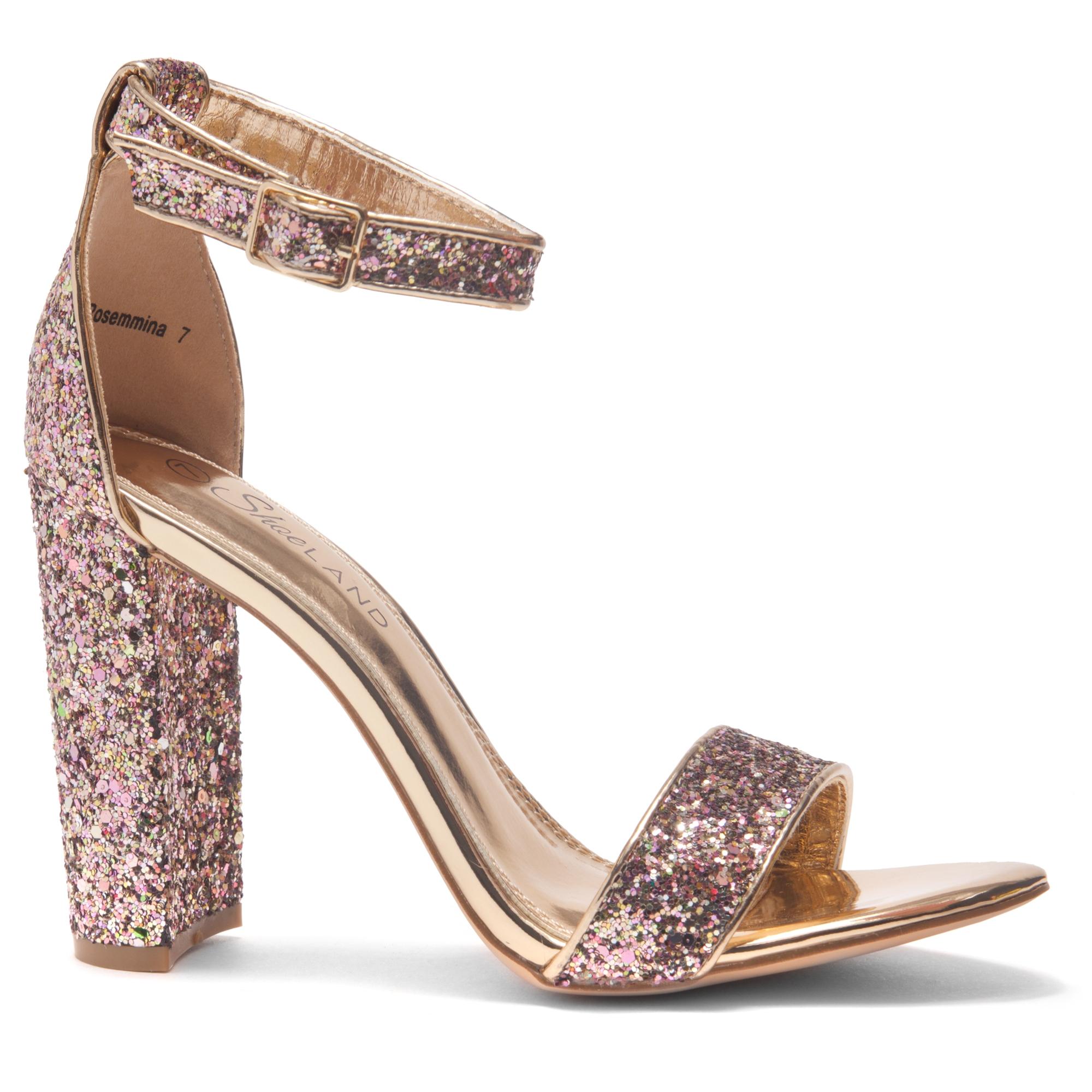 06d9920bd89 HerStyle Rosemmina Open Toe Ankle Strap Chunky Heel (RoseGoldGlitter)